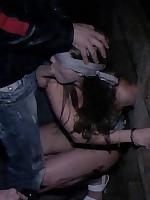 Nighttime gangbang in public for bound girl