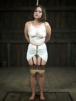 Curvy brunette bound, blindfolded and humiliated