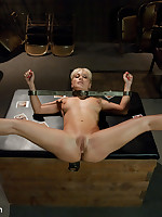 Submissive bent over in bondage for sexual service