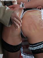 Submissive in stockings gets a thorough spanking from Master