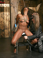 Black girl tied spread-eagle and forced to cum