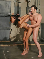 Slave is suspended for cocksucking and fucking