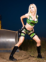 Military Force Blonde Bombshell in Latex