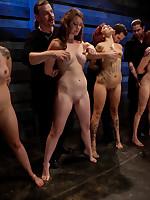 Four sluts prove their slaveable
