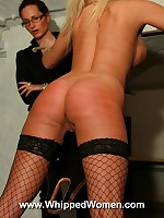 Naughty blonde prisoner ass whipped as punishment