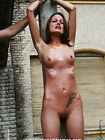 Painful whipping of breasts and pussy, outdoors