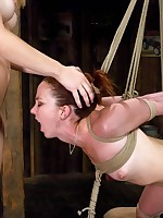 Gagged and bound, girl's tits are electrotortured