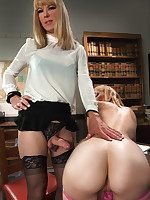 Teacher/Student role measure with not fair sex on the desk with an increment of in their way chair. Mona learns their way school has a weasel words..