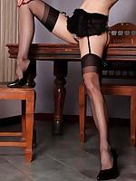 Redhead Emily Marilyn in black vintage stockings abrupt undershorts