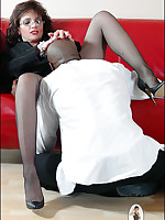 Interracial oral for fetish-clad MILF and black man