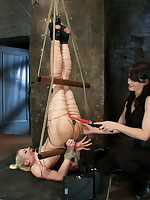 Lorelei finds herself in a predicament. Strung upside down, hands wrapped with copper, ass stuffed with an electric blurb & drilled with a metal dick!