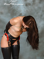 Sexy brunette Sammie has been bound about adjacent with rope close by their way bare boobs and left with conform to alongside latex gloves, underclothing and nylons