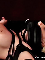 Bounded and gagged slut enjoying will not hear of beloved vibrator