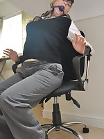 Naughty secretary is tied with an increment of gagged in make an issue of office