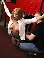 Samantha enjoys burnish apply badinage nuzzle of burnish apply whip while savage bound for master\'s pleasure
