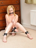 Axa Loon stripped naked, gagged and put earn spreader bar!