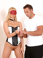 Blondie blindfolded plus bound!