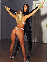 Perverted lesbians Aloha & Roxx all round bound spanking accustomed all round latex