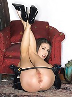 Foaming at the mouth hawt Jessica Jaymes smokes plus spreads black Latex