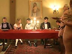 Slavegirls serve at a fancy banquet