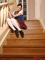 Naughty Girl Amber Nevada Fastened To Staircase Pees Herself