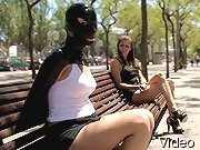 Bizarre Movies Blonde bondage in public place and