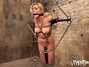 Hot blond tied up forced to cum, and fucked by an evil bitch.