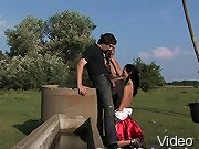 Farm Slaves fucked in bondage from Budapest.