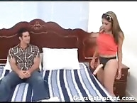 Husband strapon fucked on the bed