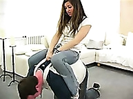 Magda enjoying herself by riding human pony