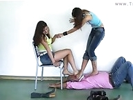 chiks puts  sucks in slave mouth after trampling