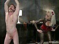 Brown nosing slaveboy gets cuckolded by two women