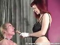 Slave needs to strapon in ass