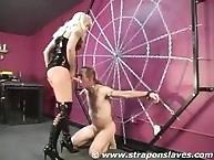 Strapon Slaves. Struggling for her cock