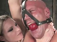 Mistress Harmony Rose dominates muscle slave