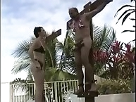 Mistress put her slave on cross for torture