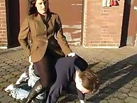 public human pony riding mistress on floor