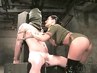 Mistress Sandra Romain interrogates helpless cum eating..