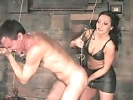 Domina Sandra strapon fucks slave's ass