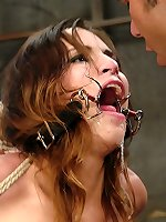 Sexual BDSM Blindfolded chick gets bondage and
