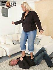 Big girl tramples slave