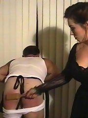 Bitch wife whips and spanks her dirty old man
