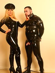 Latex mistress punished latex slaveboy