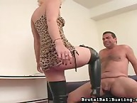 Blond with her black haunch high boots