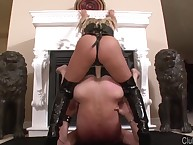 Mature humiliated straponed slave