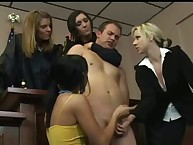 Naughty cfnm women coax cock