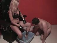 Blonde dominatrix-bitch humiliates her husband