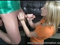 Femdom tugjob with nice-looking blondy