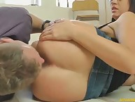 A boy was tormented under bbw's bottom