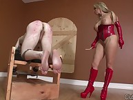 Flaxen-haired floss with respect to peppery latex spanks their way servant